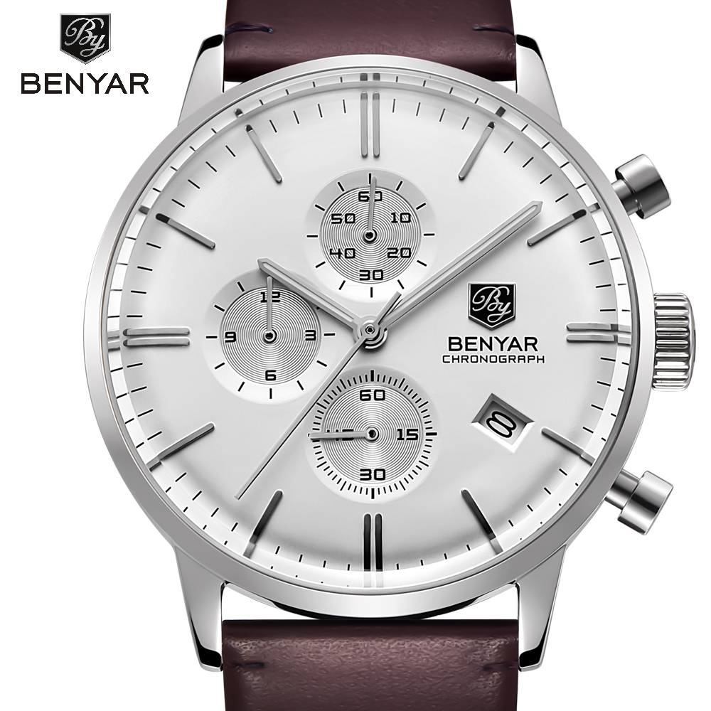 BENYAR Luxury Brand Men's Quartz Date Casual Watch Men Army Military Sports Watches Male Leather Clock Relogio Masculino brand luxury men sports watches men quartz date analog clock male leather band casual military watch minifocus relogio masculino
