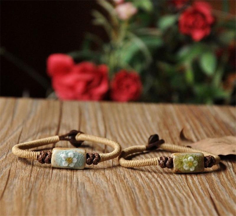 BoYuTe 5Pcs Hansenne Style Bohemia Bracelet Women Flower Carved Ceramic Beads Braided Rope Bracelet
