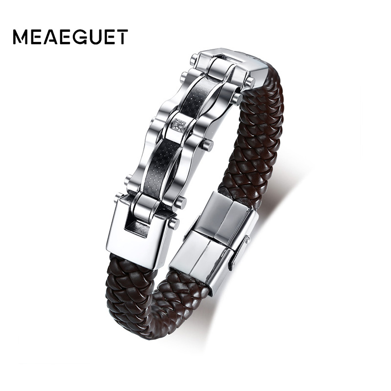 Meaeguet Trending Brown High Quality Pu Leather Bracelet Men Inlay Carbon Fiber CZ Stone Charm Bracelet Male Jewelry
