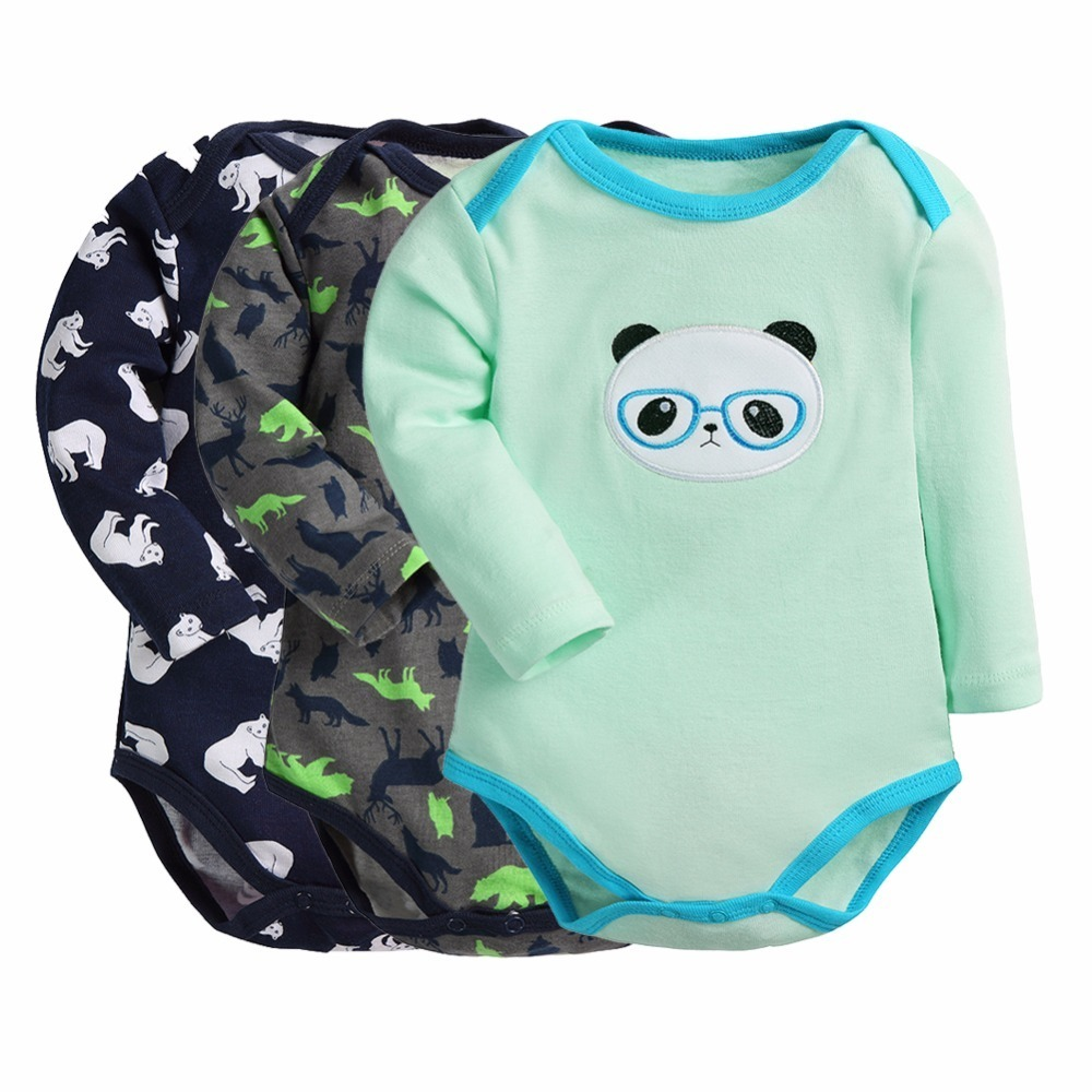 Baby Bodysuits 3 Pieces/lot Cartoon Style Long Sleeve Pajama Baby Girl Boy Clothes New Born Baby Ropa Bebe Supercolor Bodysuit