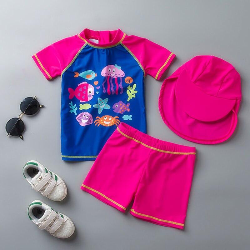 Новинка 2019, купальник для девочек с шапкой, пляжный купальник для девочек, детский купальник с единорогом, CZ903
