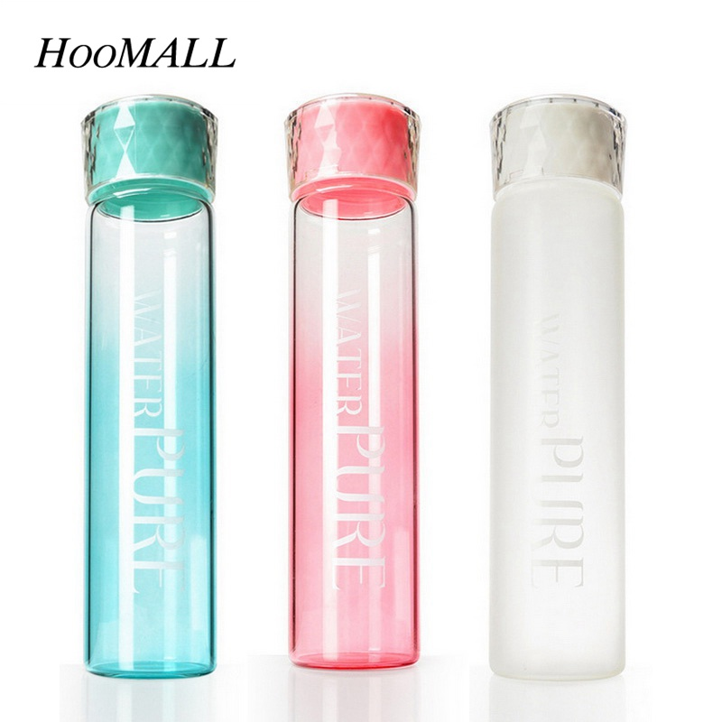Hoomall 400ml Gradient Glass Water Bottle Frosted Portable Travel Dinkware for Water Tea Sports Juice Bottle New Year Gifts