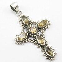 India Unique Designed Silver New Fashion Jewelry Cut Citrines Pendant 2