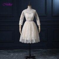 Dreagel Elegant O Neck Zipper Vintage Lace Short Bridesmaid Dress 2017 Delicate Sashes Beading Formal Party