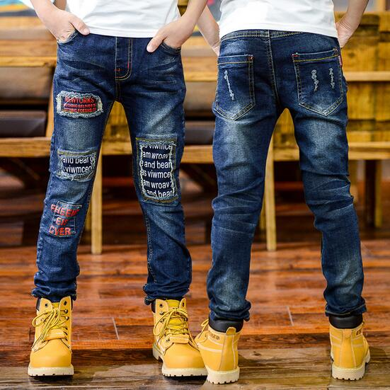 950de0e6e Baby Boys Denim Pants Trousers 2017 Autumn Casual Solid Fall Kids Jeans Boy  Simple Elastic Pockets Children Clothes 6 15T JMFFY-in Jeans from Mother &  Kids ...
