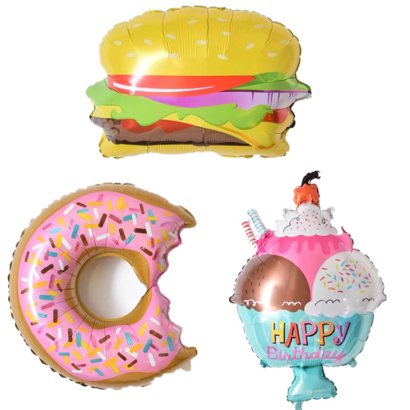 1PC Ice Cream Hamburger Shape Foil Balloons Happy Birthday Decoration Supplies Inflatable Air Balloons Kids Gifts Classic Toys