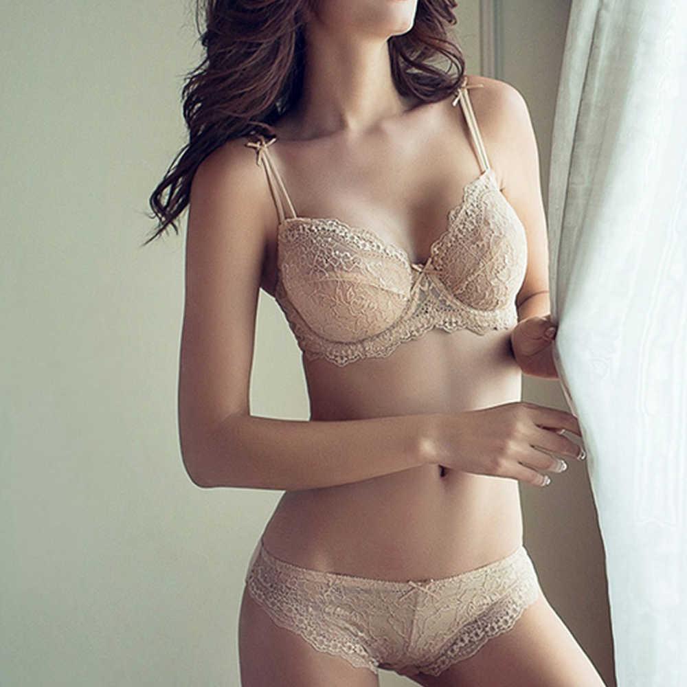 Бренд Vogue Secret, ультра-тонкий сексуальный бюстгальтер с большой чашкой, комплекты и трусики, прозрачный кружевной женский бюстгальтер без косточек и комплект нижнего белья с подвесками