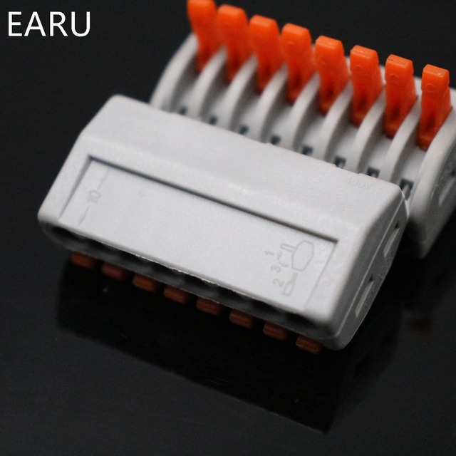 10Pcs PCT-218 PCT218 WAGO 222-418 Universal Compact Wire Wiring Connector Connectors 8 pin Conductor Terminal Block With Lever