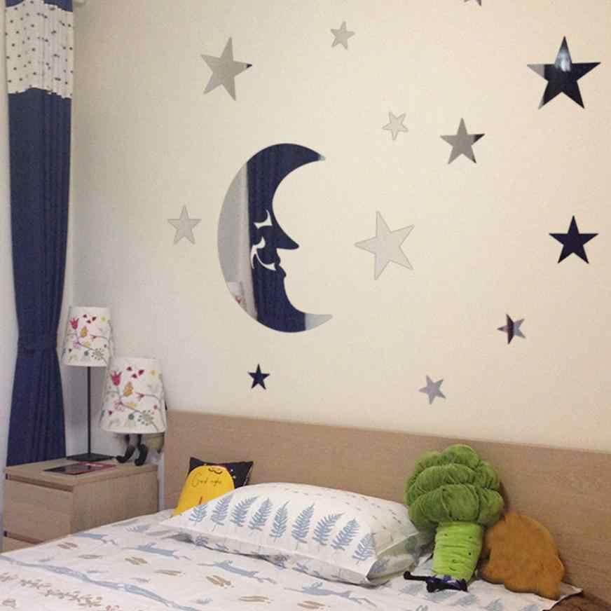 Rumah Dekor Bintang dan Bulan Kombinasi 3D Cermin Dinding Stiker Dekorasi Rumah Dinding Stiker Rumah Deco Cermin AU1