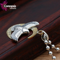 S925 sterling Silber anhänger retro Schmuck Thai silber männer und frauen persönlichkeit Mond Gebogene Fliegen Adler Anhänger
