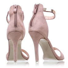 2017 Concise Nude Suede High Heels Sandals Women Sequined Ankle Strap Summer Dress Shoes Woman Open Toe Sandals XWF0648-5