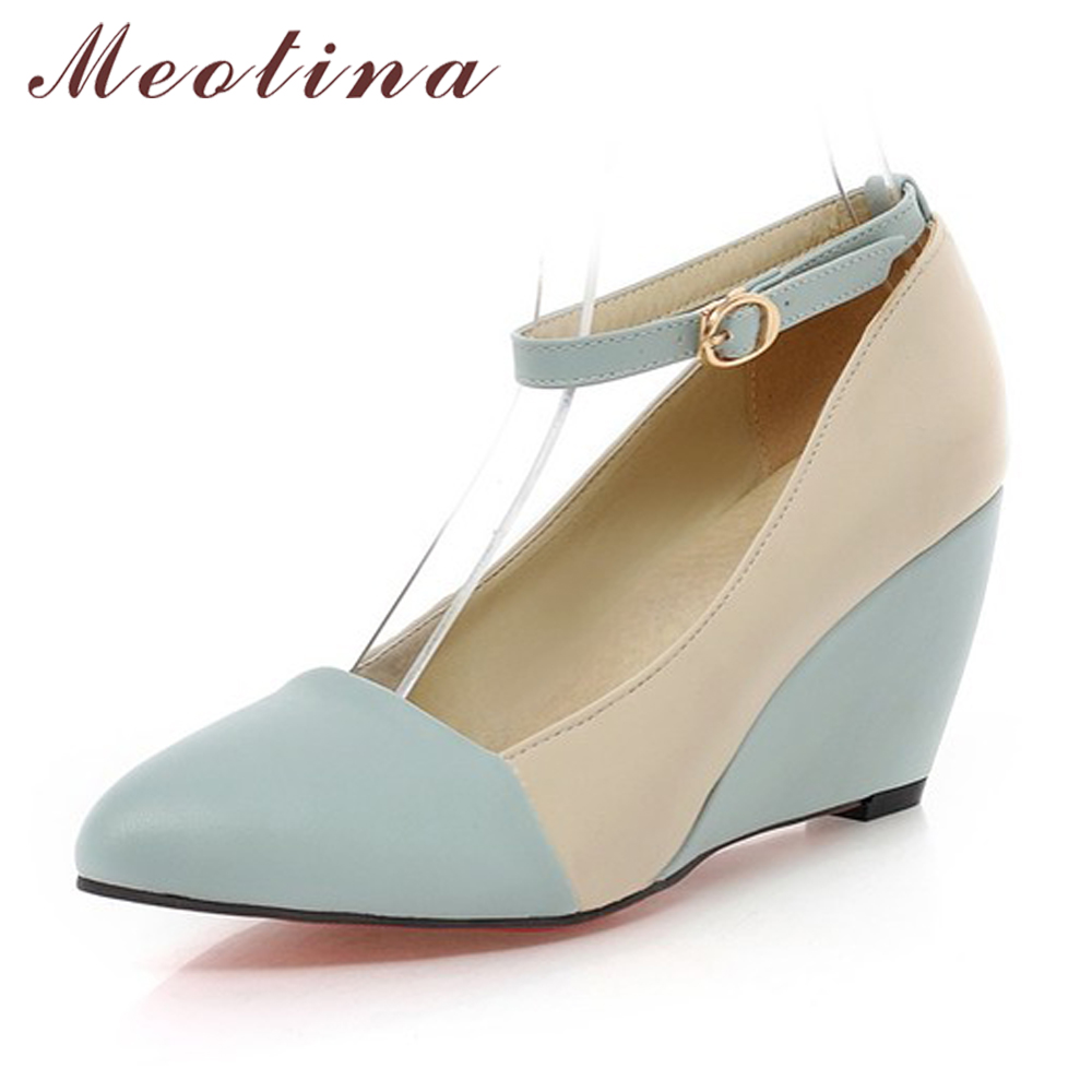 Meotina Shoes Women Pumps Autumn Autumn Pointed Toe Ankle Strap High Heels Wedges Shoes Blue Black Ladies Shoes Big Size 40 41 new women pumps transparent wedges high heels ankle pointed toe high heels pring autumn sexy shoes woman platform pumps