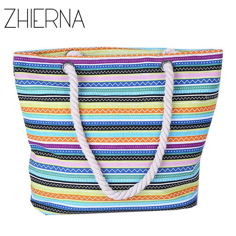 ZHIERNA Fashion Printing Bag Women Handbag Canvas Flower High Quality School Bags Summer Beach Crossbody Bag For Women Cheap bag