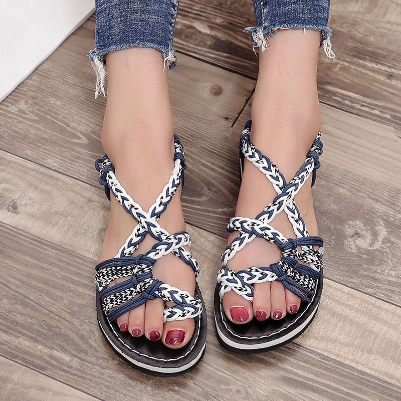 Women Knotted Sandals Flat Toe Ring Ankle Strap Shoes for Summer Beach MSJ99Women Knotted Sandals Flat Toe Ring Ankle Strap Shoes for Summer Beach MSJ99