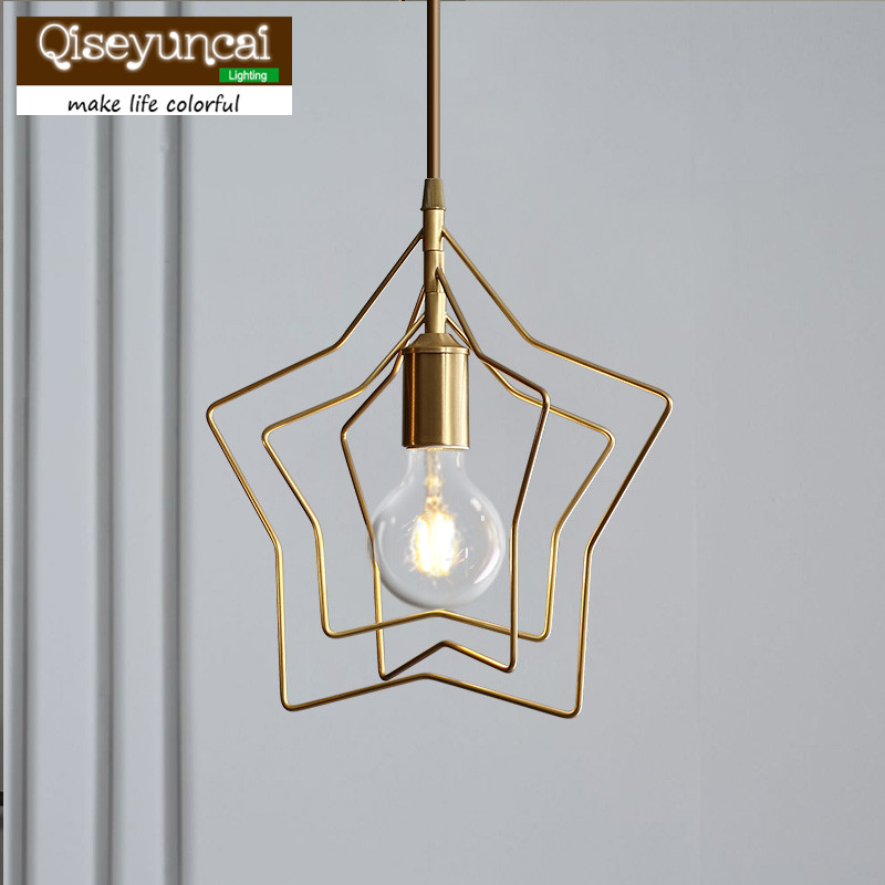 Qiseyuncai 2048 Nordic Full Copper Restaurant Star Chandelier Simple Bar Living Room Bedroom Creative Personality Corridor LampsQiseyuncai 2048 Nordic Full Copper Restaurant Star Chandelier Simple Bar Living Room Bedroom Creative Personality Corridor Lamps