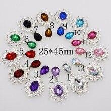 De moda 10 unids/lote 25*45mm DIY accesorios de plata de aleación de diamantes de imitación broche de Ropa Decoración suministros de arte