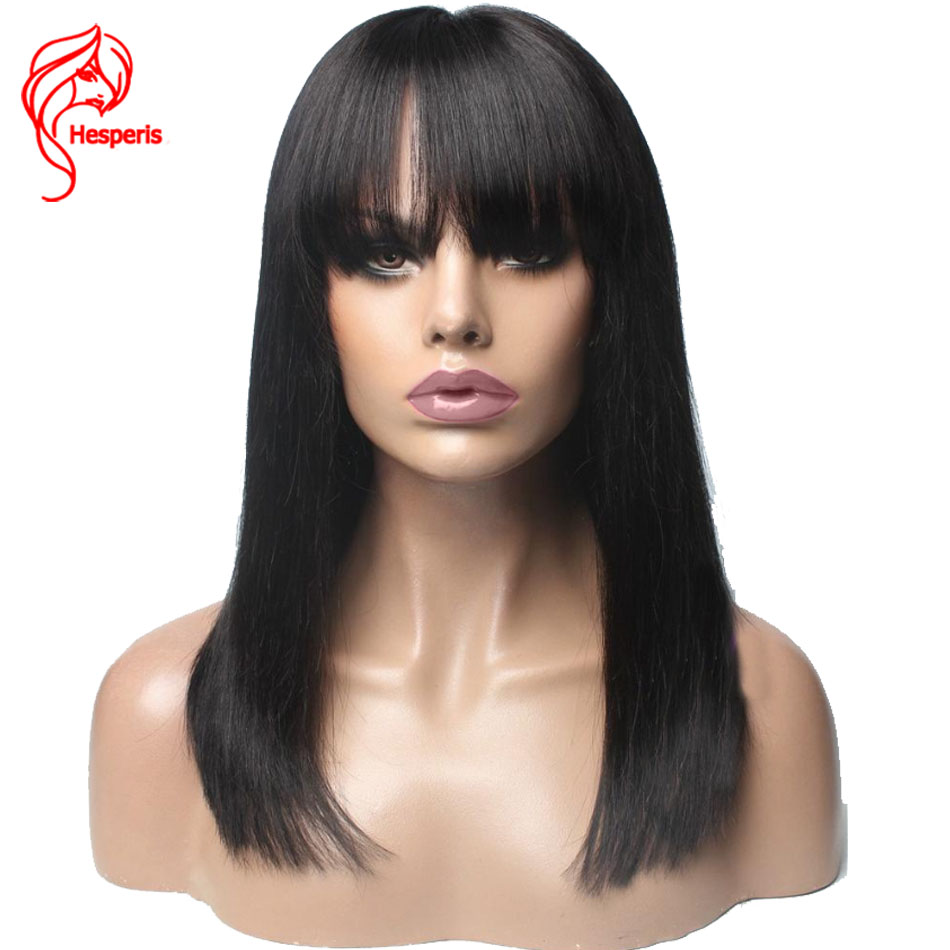 Hesperis 13x6 Short Bob Lace Front Human Hair Wigs Brazilian Remy Bob Lace Front Wigs With Bang Pre Plucked Short Lace Wigs
