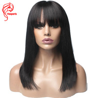Hesperis Silk Staright Remy Bob Lace Front Human Hair Wigs For Women Bob Cut Lace Wigs With Bang Pre Plucked Short Lace Wigs