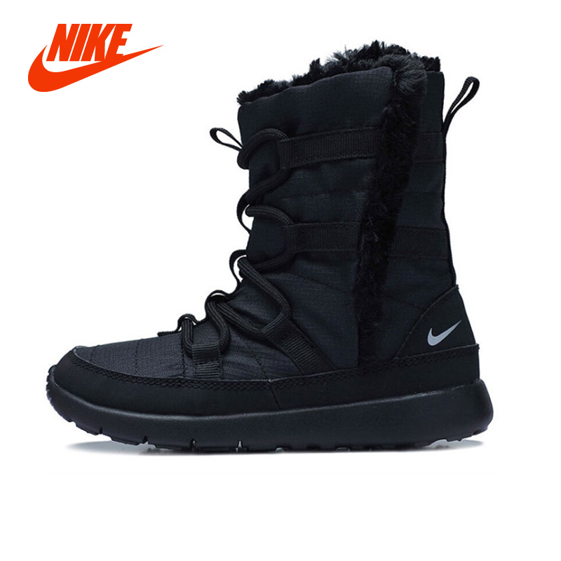Original New Arrival Authentic NIKE ROSHE ONE HI SE Children Winter Snow Boots Unisex Boys Girls Black Sport Sneakers