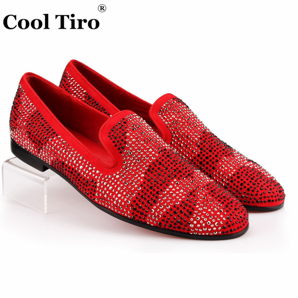 COOL TIRO Red Suede Men Loafers Rhinestones Slippers Casual Man moccasin Party Wedding Dress Shoes Men