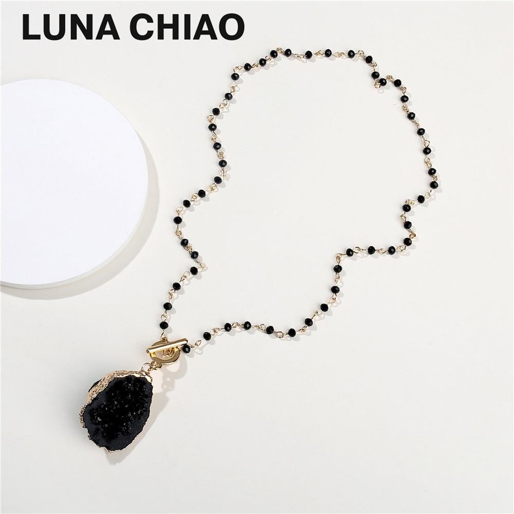 Crystal Beads Link Chain Gold Rim Quartz Hole Semi Precious Stone Necklace&Pendant for Women