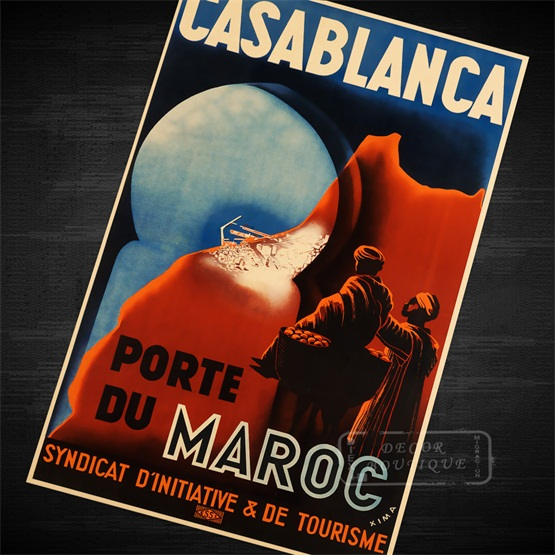 VINTAGE CASABLANCA MOVIE POSTER A4 PRINT
