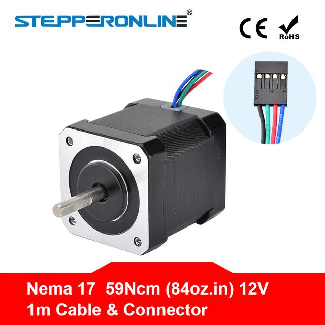 Nema 17 Stepper Motor 48mm Nema17 Motor 42BYGH 2A 4-lead (17HS4801) Motor 1m Cable for 3D Printer CNC XYZ Motor