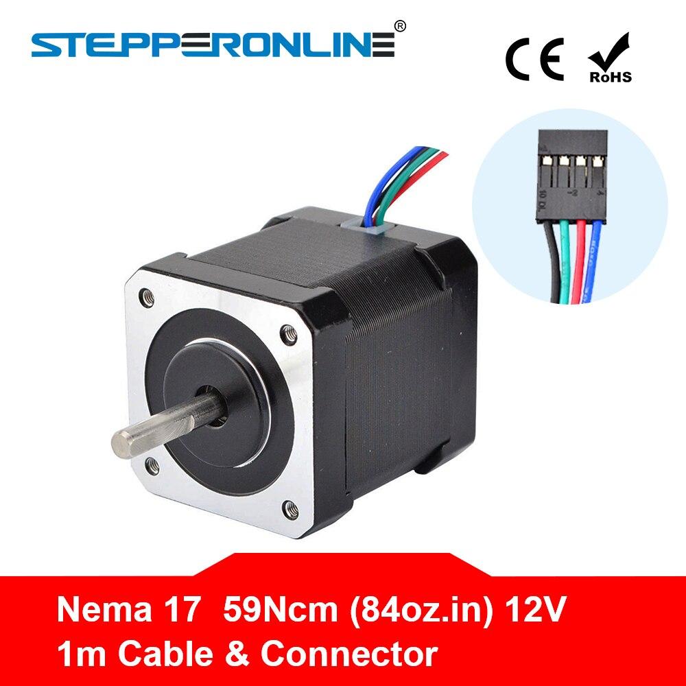 Nema 17 paso a paso Motor 48mm Nema17 Motor 42 BYGH 2A 4-plomo (17HS4801) motor 1 m de Cable para 3D impresora CNC XYZ Motor