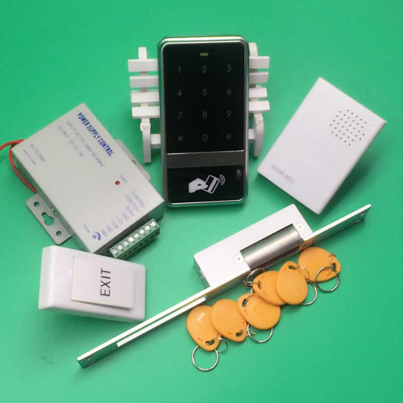 DIY Access Control Kit Waterproof&Touch Keypad Rfid Door Access Control With NC Electric Strike Lock+ Power Supply+Door Bell raykube glass door access control kit electric bolt lock touch metal rfid reader access control keypad frameless glass door