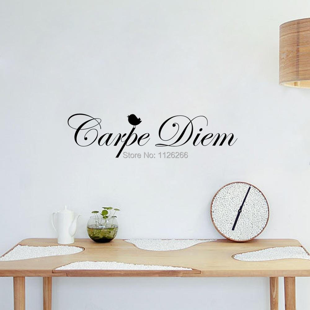 Removeable vinyl wall stickers quotes carpe diem for 6 letter word for living room