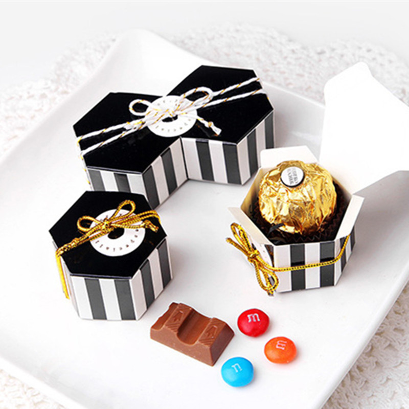 10pcs Mini Stripe/Dots Black Bronzing Color Hexagon Chocolate Box Carton Dragee Candy Box Baking Package Wedding Mariage Deco