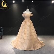 JIALINZEYI Echt Bild Luxuriöse Boot ausschnitt Chapagne Perlen Gericht Trian robe de soiree Formale Kleider Abendkleid 2019