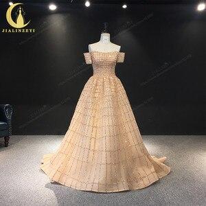 Image 1 - JIALINZEYI Echt Bild Luxuriöse Boot ausschnitt Chapagne Perlen Gericht Trian robe de soiree Formale Kleider Abendkleid 2019