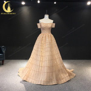 Image 1 - JIALINZEYI Real Image Luxurious Boat Neck Chapagne Beads Court Trian robe de soiree Formal Dresses Evening Dress 2019
