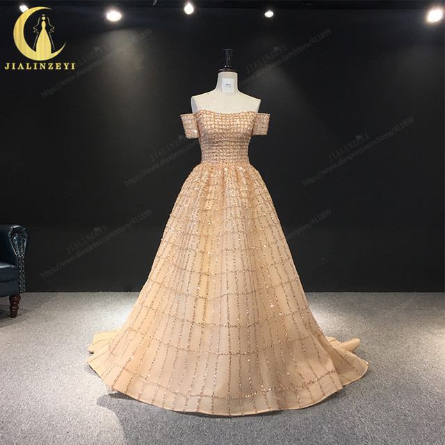 JIALINZEYI Real Image Luxurious Boat Neck Chapagne Beads Court Trian robe de soiree Formal Dresses Evening Dress 2019