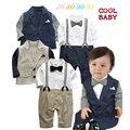 Детские мальчиков одежда набор куртка + ползунки 2 цвета дети господа костюм Весна Осень Детский Сад Дети Сын Детские Комплектов Одежды