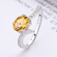 gemstone fine jewelry factory wholesale 925 sterling silver natural 10x16mm oval yellow crystal amethyst female ring цена