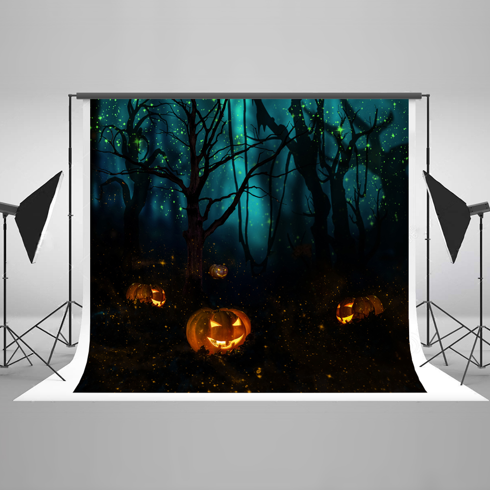 Kate Halloween Backgrounds Dark Forest Dead Tree Pumpkin Green Light Halloween Celebration Backgrounds for Photography Photo charlaine harris dead until dark