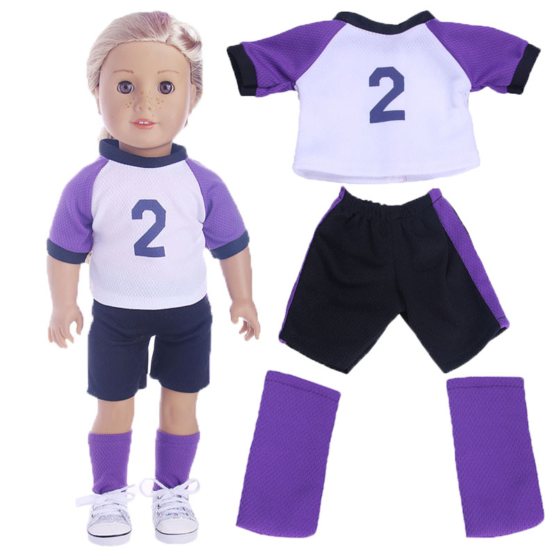Luckdoll Three-piece soccer suit for 18-inch American girl dolls, childrens best Christmas gifts