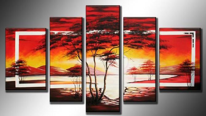 Dipinti Murali E Pittura Ad Ago : ⑦dipinto a mano arte della parete dell olio caldo rosso alba