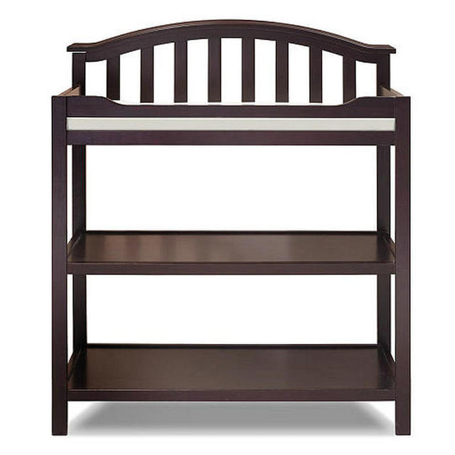 Pine Infant Changing Table With Cushion Of Safety Strap Wood Diaper Station Baby
