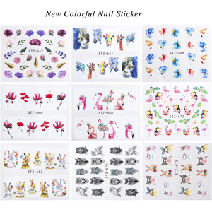 Image 4 - 15pcs Mixed Sticker Nails Art Slider Set Flamingo Owl Flower Animal Designs Water Manicure Tips Foil Nail Decals CHSTZ659 673 1