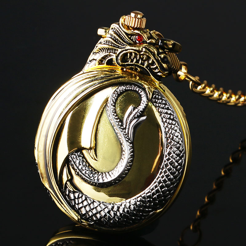 Купить с кэшбэком Vintage Gold Pocket Watch Men Evil Dragon New Golden Tone Case Big Red Crystal Retro Red Garnet Inset  Luxury Necklace Gift
