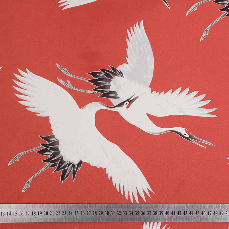 HLQON 100% tessuto di raso di cotone stretch Red-crowned crane per le donne cucire abbigliamento tessuto tappezzeria abito da sposa FAI DA TE