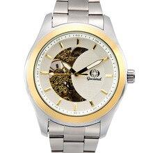 Мужская мода hollow смотреть Парной Бизнес световой автоматические механические часы золото мука золото основной полосы