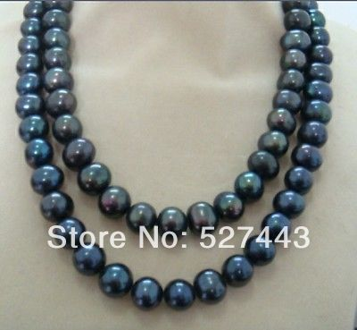 Wholesale free shipping >>double strands natural 10-11mm tahitian black blue pearl necklace 38inch