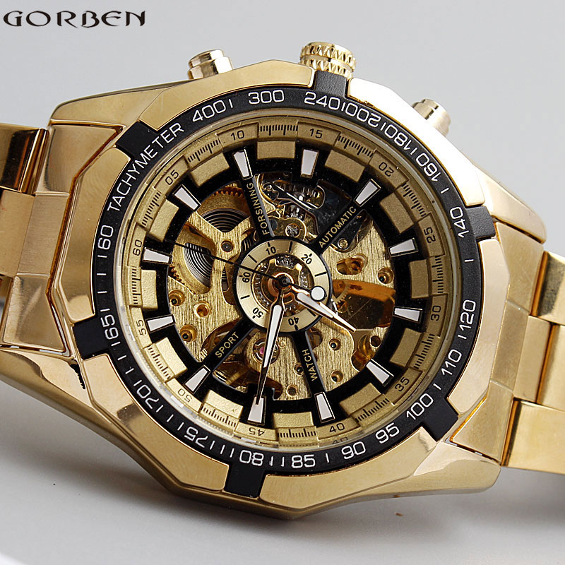 Hot Sale Luxury Golden Luminous Automatic Mechanical Skeleton Dial Stainless Steel Band Wrist font b Watch