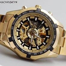 Venta caliente de Lujo de Oro Luminoso Esqueleto Dial Stainless Steel Band Mecánico Automático Reloj de Pulsera Hombres Mujeres Mejor Regalo M106-1