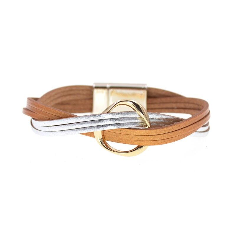 18 Colors Charm Leather Bracelets for Women /& Men Multiple Layers Wrap Bracelets Couple Gifts Fashion Jewelry Black 18cm
