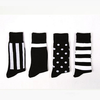 Classic Stripes Polka Dot Prints With Sock Business Male Socks Simple High Tube Socks Men Winter